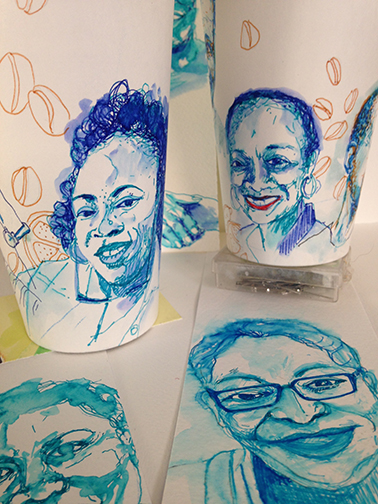 cups and bookmarks - a few sketches